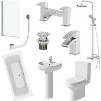 Ceramica - 1700mm Bathroom Suite Shower Double Ended Bath Screen Toilet Basin Pedestal Taps
