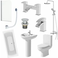 1700mm Complete Bathroom Suite Bath Shower Screen Toilet Pedestal Basin Taps