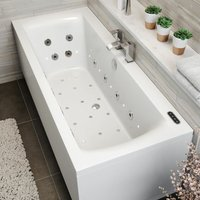 Vitura - 1700mm Double End Square Whirlpool Bath LED Light Heater Ozonator Side End Panel