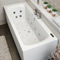 Vitura - 1700mm Double Ended Square Whirlpool Bath LED Light Heater Ozonator Side Panel