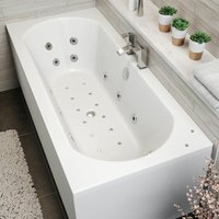 Vitura - 1700x750mm Double Ended Curved Airspa Whirlpool Bath Side Panel White Bathroom