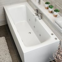 1700x750mm Double Ended Square Whirlpool Bath 6 Jets Side End Panel Bathroom