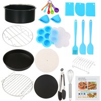 17Pcs BBQ Grill Accessories Fryer Tools Set Stainless Steel Grilling Tools Professional Grill Mats for Outdoor Cooking Camping/Backyard Barbecue Cake