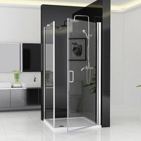 800 x 900 mm ZBP Shower Enclosure Frameless 180° Pivot Door with 900 mm Side Panel 6mm Clear Safety Nano Glass 1850 Height - No Tray - Miqu
