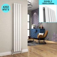 1800 x 300 mm White Vertical Column Radiator Double Flat Panel Designer Bathroom Radiator