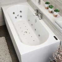 Vitura - 1800 x 800mm Whirlpool Bath Double Ended Curved 34 Jets LED Lighting Ozonator
