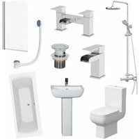 1800mm Bathroom Suite Double Ended Bath Shower Screen Toilet Basin Pedestal Taps