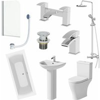 Affine - 1800mm Bathroom Suite Double Ended Bath Shower Toilet Basin Pedestal Taps Screen