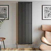 Duratherm - 1800x600mm Anthracite Designer Radiator Vertical Oval Column Single Panel Rad
