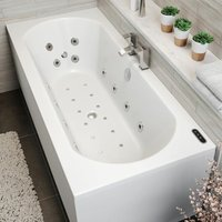 1800x800mm Double Ended Curved Whirlpool Bath LED Lighting Ozonator Side Panel