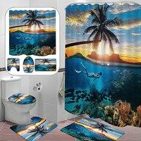 180x180cm Underwater Pattern Shower Curtain Set Bath Curtains Bathroom Bathroom Mats (4PCS Shower Curtain Mat Set)