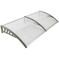 190*100cm Door Canopy Transparent Awning Shelter Front Back Porch Outdoor Shade Patio Roof-Grey