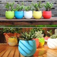 Briday - 1PC blue Mini Flower Pots Colourful Round Plastic Plant Flower Pot planters for succulents Decor Plants Desktop Flower Pots Maceta