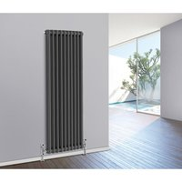 1800 x 470mm Traditional Anthracite Vertical Cast Iron Radiator Double Panel