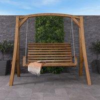 2-3 Seater Larch Wood Wooden Garden Outdoor Swing Seat Bench Hammock 1.9M - CHARLES BENTLEY
