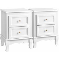 2 Bedside Tables, Bedside Cabinet with 2 Drawers, Wooden Nightstands with Solid Pine Wood Legs, Spacious Storage, White RDN012 - SONGMICS
