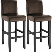 2 Breakfast bar stools made of artificial leather - bar stool, kitchen stool, wooden stool - brown