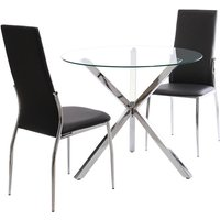 Livingandhome - Set of 2 PU Leather Padded Seat Metal Legs Dining Chair, Black