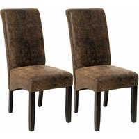 Dining chairs with ergonomic seat shape - dining room chairs, kitchen chairs, dining table chairs - antique brown - TECTAKE