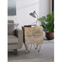 2 Door Solid Wood Side Bedside Lamp Table 2 Drawers Gold Inlays Handmade