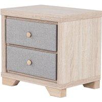 Scandinavian Bedside Table Grey Upholstered Drawers Light Wood Nightstand Berck