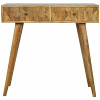 Artisan - 2 Drawer Writing Desk with Pineapple Carved Drawer Fronts