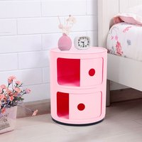 2 Drawers Bathroom Living Room Storage Round Cabinet Stroags Bedside Pink - LIVINGANDHOME