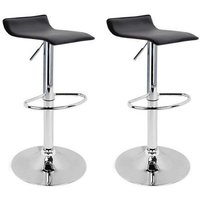 2 eco-leather backless design bar stools for lounge and kitchen Island Counter. Set of two adjustable Leatherette stool chairs with Swivel Gas Lift,