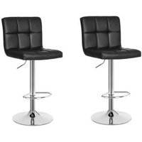 2 eco-leather design bar stools for lounge and kitchen Island Counter. Set of two adjustable Leatherette stool chairs with Swivel Gas Lift, Chrome