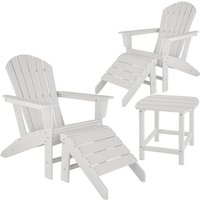 Tectake - 2 garden chairs with footrests and weatherproof side table - garden table and chairs, bistro set, sun loungers - white
