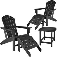 Tectake - 2 garden chairs with footrests and weatherproof side table - garden table and chairs, bistro set, sun loungers - black