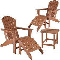 2 garden chairs with footrests and weatherproof side table - garden table and chairs, bistro set, sun loungers - brown