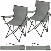 2 Camping chairs Gil - garden chairs, outdoor chairs, folding garden chairs - grey