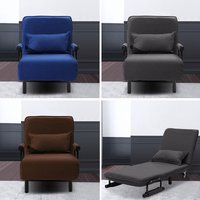 2-in-1 Sofa Bed Folding Futon Chair with Pillow Wheels Single Sleep Guest Beds
