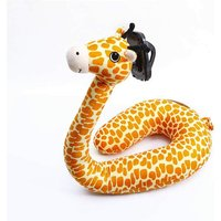 Briday - 2 in 1 U Shaped Pillow Laptop Neck Support, Lazy Cell Phone Stand, U Shaped Pillow, Cute Cartoon Animal Neck Pillow - giraffe