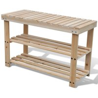 2-in-1 Wooden Shoe Rack With Bench Top Durable VD08520