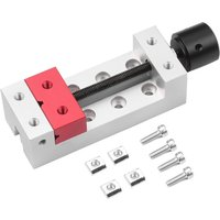 Asupermall - 2-Inch Mini Drill Press Vise Flat Clamp C Clamp Bench Vise for Carving Engraving Machine Walnut Jewelry Watch Repairing,model:Silver and