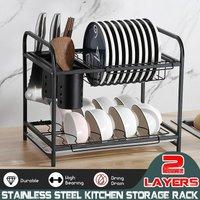 Drillpro - 2 Layers Stainless Steel Kitchen Storage Rack Kitchen Sink Drainer Tableware Supplies Chopsticks Cage Dish Knife Holder Bowl Holder Water