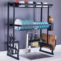 2 Levels Multifunctional Stainless Steel Dish Drainer 85.5cm