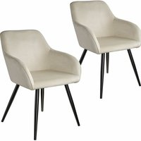 2 Marilyn Velvet-Look Chairs - black/cream - TECTAKE