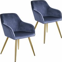 2 Marilyn Velvet-Look Chairs gold - blue/gold