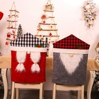 Bearsu - 2 Pack Christmas Chair Covers, Plaid Swedish Gnome Xmas Removable Chair Cover Christmas Home Dinner Table Chair Backrest Covers Slipcovers