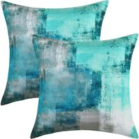2 Pack Decorative Teal Throw Pillow Covers, Turquoise Pillow Cover Modern Pillow Cover Home Decor Cushion Cover for Sofa Bed Living Room Bedroom, 18