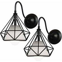 2 Pack Diamond Decorative Hanging Light Retro chandelier Industrial Loft Hanging Lamp Retro Ceiling Lamp for Dining Bar Restaurant Living Room Cafe