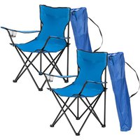 Axhup - 2 Pack Folding Camping Chair, Portable Chair with Cup Holder and Carry Bag for Garden Fishing BBQ (Blue)