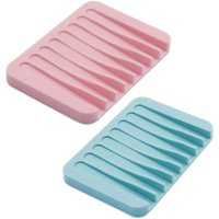 2 Pack Soap Dish Self Draining, Flexible Silicone Soap Tray Bar Soap Holder, Soap Saver Holder Drainer for Shower, Bathroom, Kitchen, Blue and Pink