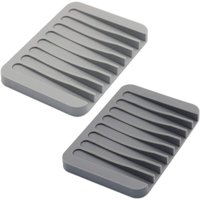 2 Pack Soap Dish Self Draining, Flexible Silicone Soap Tray Bar Soap Holder, Soap Saver Holder Drainer for Shower, Bathroom, Kitchen, Grey and Light