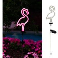 2 Pack Solar Garden Lights Outdoor Decorative, Waterproof Neon Flamingo Pathway Stake Light for Yard Lawn Walkway Patio Decor(2 Pack)