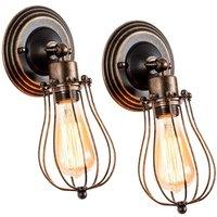 2 Pack Wall Light Industrial Adjustable Socket Rustic Wire Metal Vintage Lighting Fixture Cage Wall Lamp Retro Sconces Indoor Home Loft,Rust color