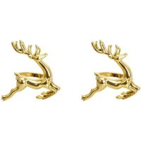 2 Pcs Deer Napkin Rings, Metal Napkin Rings for Thanksgiving, Christmas, Weddings, Parties, Dinners, Holiday Decorations (Gold)
